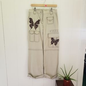 BCBGMaxazria Butterfly Embroidered Cargo Pants